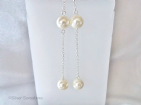 Ivory Cream Shell Pearls & Sterling Silver Chain Long Earrings | Silver Sensations